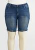 Plus Size Curvy Embellished Denim Shorts alternate view