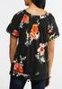 Plus Size Floral Pom Pom Trim Top alternate view