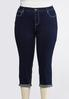 Plus Size Cropped Crystal Embellished Jeans alternate view