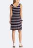 Plus Size Stripe Tie Shoulder Knit Dress alternate view