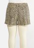 Plus Size Leopard Denim Shorts alternate view