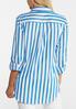 Plus Size Blue Stripe Tie Front Shirt alternate view