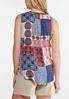 Plus Size Lace Trim Patchwork Print Tank alternate view
