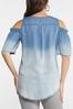 Plus Size Chambray Cold Shoulder Top alternate view