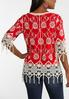 Plus Size Fringed Embroidered Pullover Top alternate view