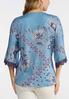 Plus Size Blue Floral Lace Trim Top alternate view