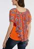 Plus Size Orange Paisley Capelet alternate view