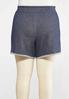 Plus Size Dark Wash French Terry Shorts alternate view