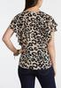 Plus Size Leopard Flutter Sleeve Top alternate view
