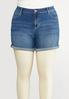 Plus Size Floral Embroidered Denim Shorts alternate view