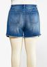 Plus Size Berry Plaid Denim Shorts alternate view