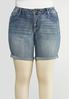 Plus Size Cross Pocket Denim Shorts alternate view