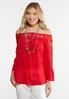 Plus Size Lace Trim Bell Sleeve Top alternate view