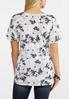 Plus Size Black And White Floral Tee alternate view