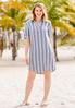 Plus Size Linen Striped Shirt Dress alt view