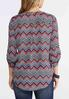 Plus Size Mixed Chevron Pullover Top alternate view