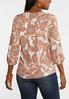 Plus Size Paisley Pleated Front Poet Top alternate view