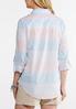 Plus Size Multi Stripe Button Down Shirt alternate view