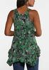 Plus Size Ruffled Green Floral Tank alternate view