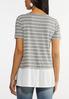 Plus Size Layered Gray Stripe Tee alternate view