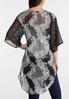 Plus Size Textured Floral Kimono alternate view