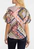 Plus Size Ruffle Sleeve Mixed Print Top alternate view