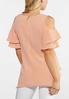 Plus Size Orange Dotted Flutter Sleeve Top alternate view