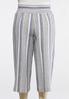 Plus Size Cropped Stripe Linen Pants alternate view