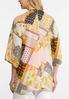 Plus Size Golden Floral Print Kimono alternate view