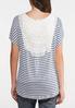 Plus Size Lacy Stripe Tie Front Cardigan alternate view
