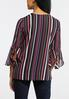 Plus Size Neon Striped Bell Sleeve Top alternate view