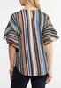 Plus Size Double Ruffle Striped Top alternate view