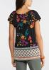 Floral And Border Tie Neck Top alternate view