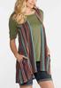 Plus Size Multi Stripe Pocket Vest alternate view