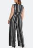 Plus Size Black Stripe Tie Waist Jumpsuit alternate view