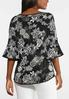 Plus Size Floral Puff Bell Sleeve Top alternate view