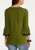 Green Ruffled Sleeve Sweater alternate view