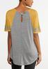 Plus Size Gold Stripe Sleeve Tee alternate view