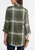 Plus Size Olive Plaid Shirt alternate view