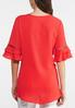 Plus Size Red Crepe Ruffled Sleeve Top alternate view