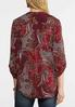 Plus Size Rolled Sleeve Paisley Top alternate view