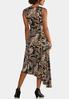 Plus Size Asymmetrical Puff Paisley Dress alternate view