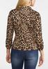 Leopard Ruched Sleeve Blazer alternate view