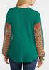 Plus Size Print Sleeve Waffle Top alternate view