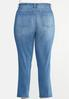Plus Size Buttonfly Raw Hem Jeans alternate view