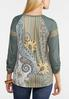 Paisley Ribbed Sleeve Top alternate view