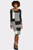Plus Size Black And White Sweater Dress alt view