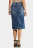Plus Size Denim Distress Midi Skirt alternate view