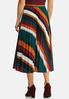 Plus Size Pleated Stripe Midi Skirt alternate view