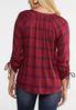 Plus Size Plaid Scrunch Sleeve Top alternate view